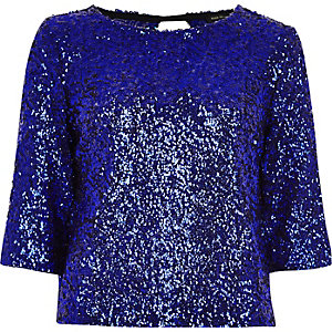 Blue sequin top