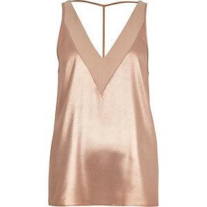 Rose gold metallic T-bar cami top