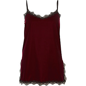 Burgundy velvet lace trim cami top