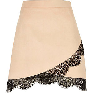 Nude faux suede lace hem mini skirt