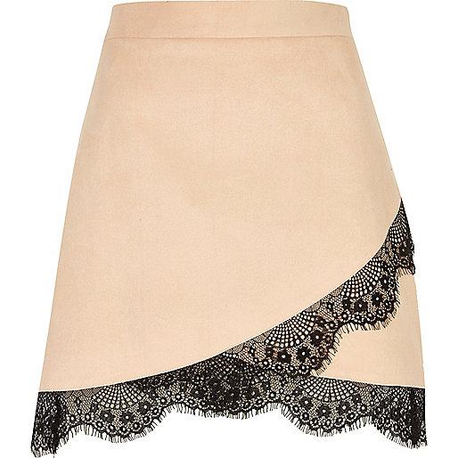 Nude faux suede lace hem mini skirt