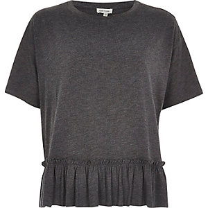 Grey marl cropped peplum T-shirt