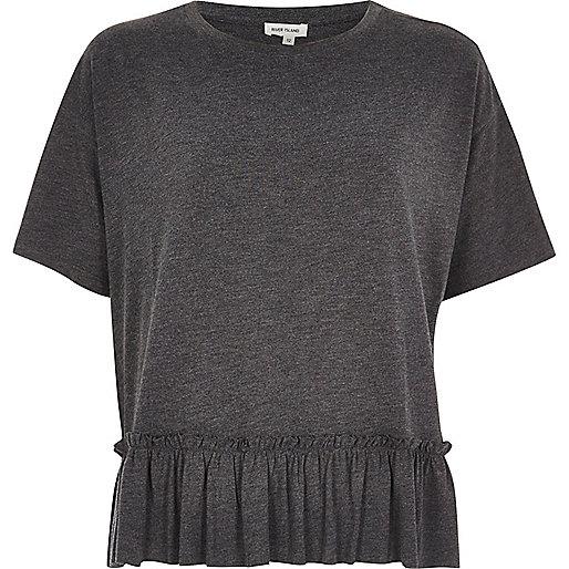 T-shirt gris chiné court style péplum