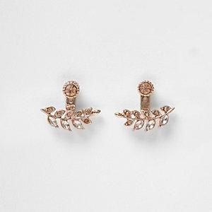 Rose gold tone leaf earrings