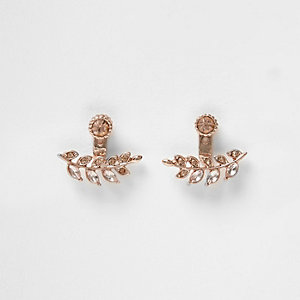 Rose gold tone leaf earrings