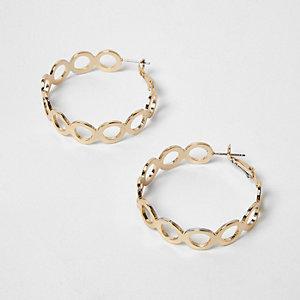 Gold tone circle link hoop earrings