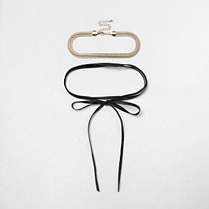 Gold tone choker bow wrap necklace set