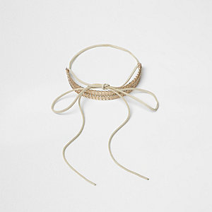 Gold tone filigree bow choker
