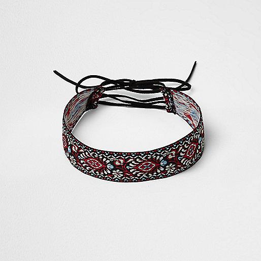 Ras-de-cou style corset style tapisserie noire