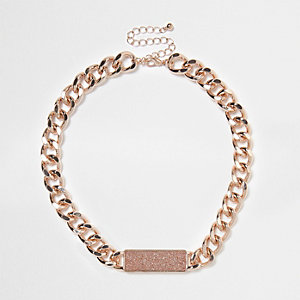 Rose gold tone chain link glitter necklace
