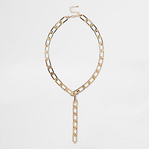 Gold tone chain drop necklace