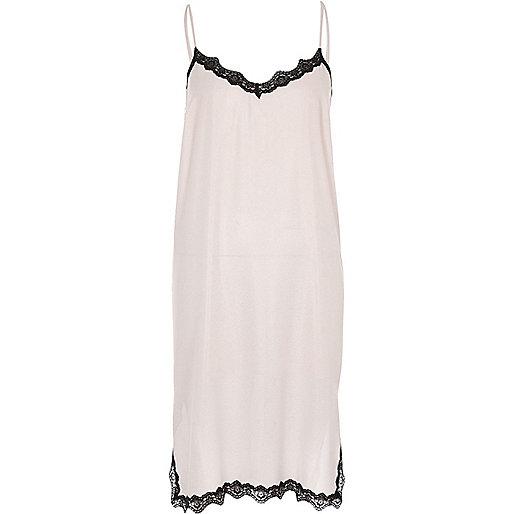 Pink metallic lace trim midi slip dress