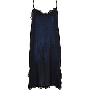 Blue metallic lace trim midi slip dress