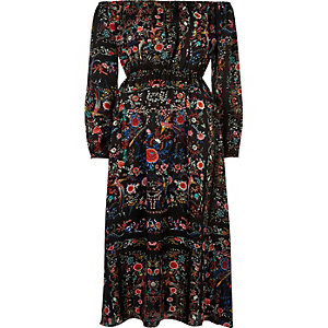 Black floral print bardot maxi dress
