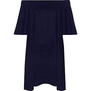 Navy velvet bardot swing dress
