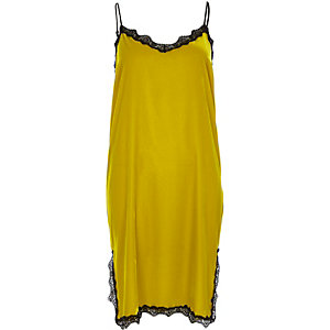 Lime velvet lace trim slip dress