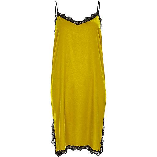 Lime velvet lace trim slip dress