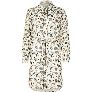 Cream western print shirt dress