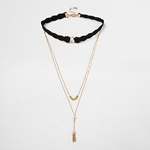 Gold tone layered choker necklace