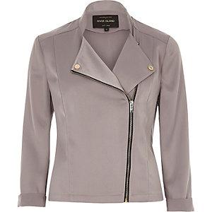 Grey satin biker jacket