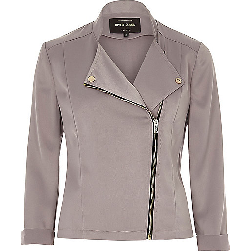 Grey satin biker jacket