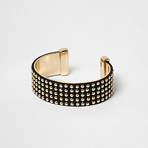 Black suede gold tone stud cuff bracelet