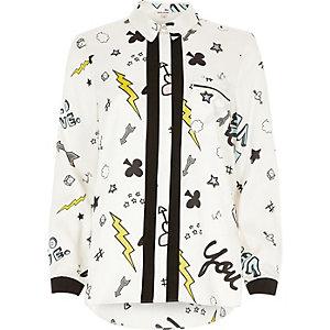 Cream print stripe placket shirt
