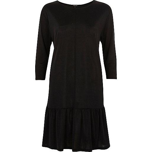 Black frill drop hem smock dress