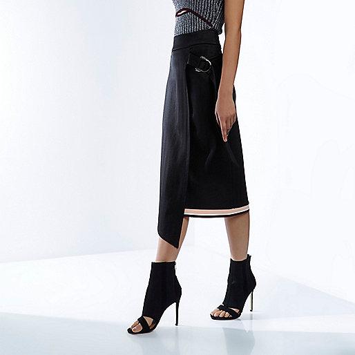 RI Studio black wrap jersey midi skirt