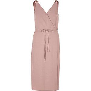 Dusty pink tie waist midi dress