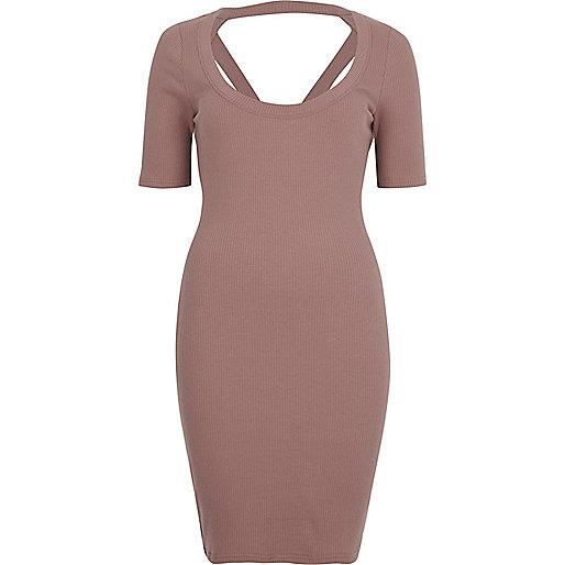 Bodycon-Kleid mit Riemchen hinten in Pink