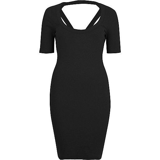Schwarzes Bodycon-Kleid mit Riemchen hinten