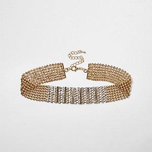 Gold tone diamante encrusted choker necklace