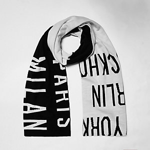 White word print scarf