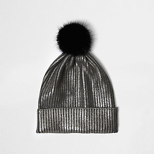 Silver metallic knit bobble hat
