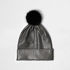 Bonnet en maille argenté métallisé à pompon