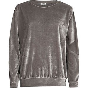 Metallic grey velour sweatshirt
