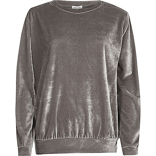 Metallic grey velour sweatshirt