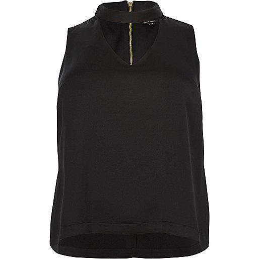 Plus black choker top