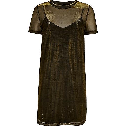 Gold metallic mesh T-shirt dress