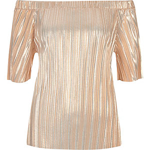Nude metallic pleated bardot top
