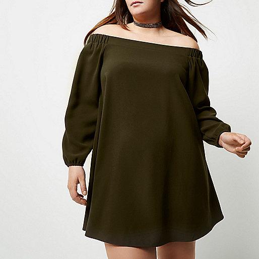 Plus – Bardot-Swing-Kleid in Khaki