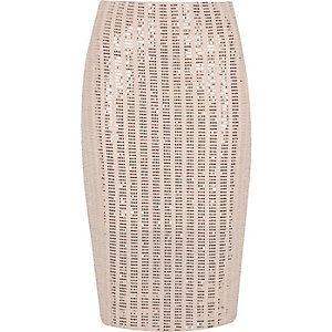 Light pink sparkly pencil skirt
