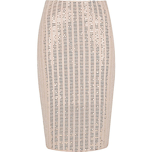 Light pink sparkly pencil skirt