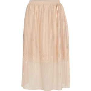 Nude pleated lace trim midi skirt