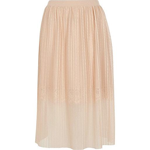 Nude pleated lace trim midi skirt