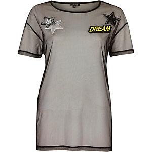 T-shirt en tulle noir à emblème imprimé