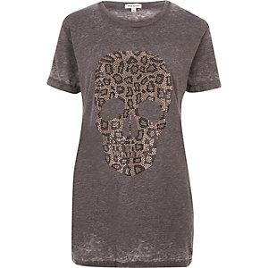 Grey leopard print skull boyfriend T-shirt