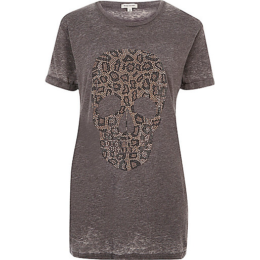 Grey leopard skull boyfriend T-shirt