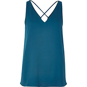 Dark blue cross strap cami